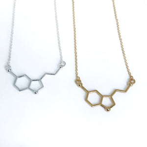 Dainty serotonin molecule necklace in gold and silver