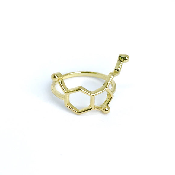 Gold love serotonin molecule ring for science lover