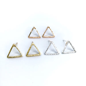 Minimalist geometric triangle shiny earrings in gold/silver/rose gold