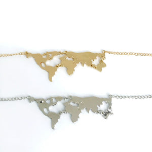 Wanderlust gold and silver world map necklaces for travel lover