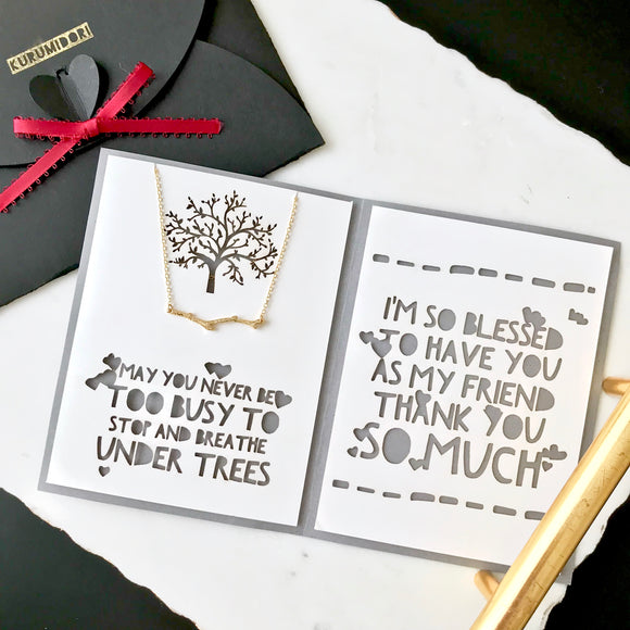 Dainty tree branch necklace in gold/silver with custom thank you card