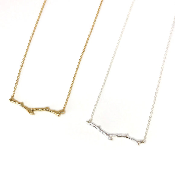 Dainty tree branch necklace in gold / silver - nature jewelry
