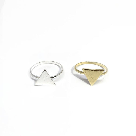 Geometric Triangle ring in gold and silver