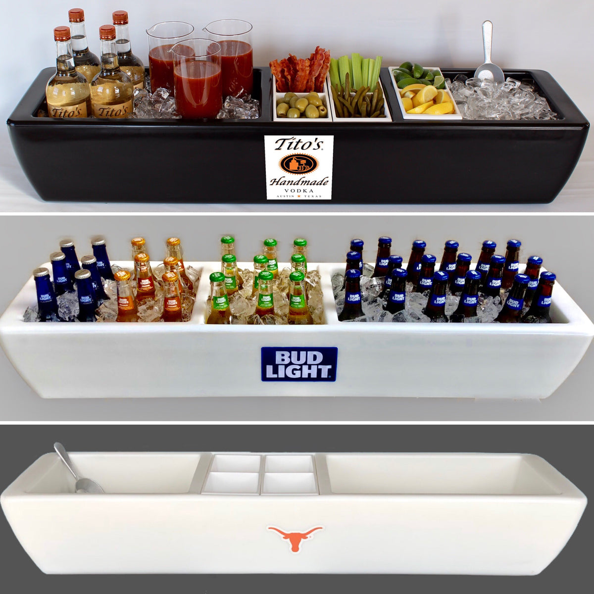 REVO Party Barge Cooler is a Beverage Tub, Ice Bucket, Champagne Tub and Wine Tub.  Great for entertaining and as a beverage station at receptions/events.  Also great for caterers and mobile bartenders. Party Drink Tub is insulated - no condensation mess.