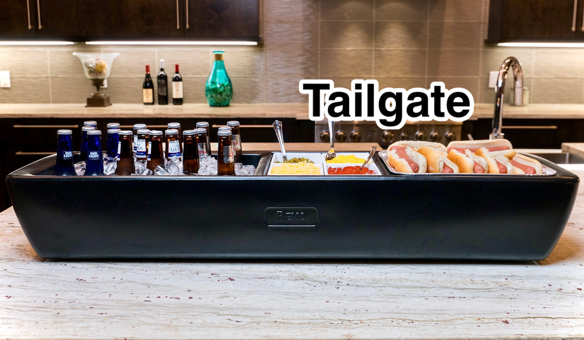 The REVO Beverage Tub is a premium Party Cooler.  It is fully insulated with no condensation. Use any compartment as an ice bucket or food display. Great for wine and cocktail parties, tailgating, outdoor grilling, mobile bartending and catering events.