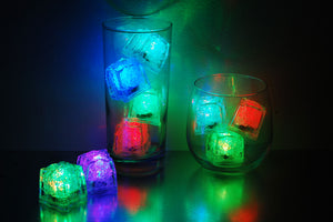 REVO multi color LED light up ice cubes with push button on/off.