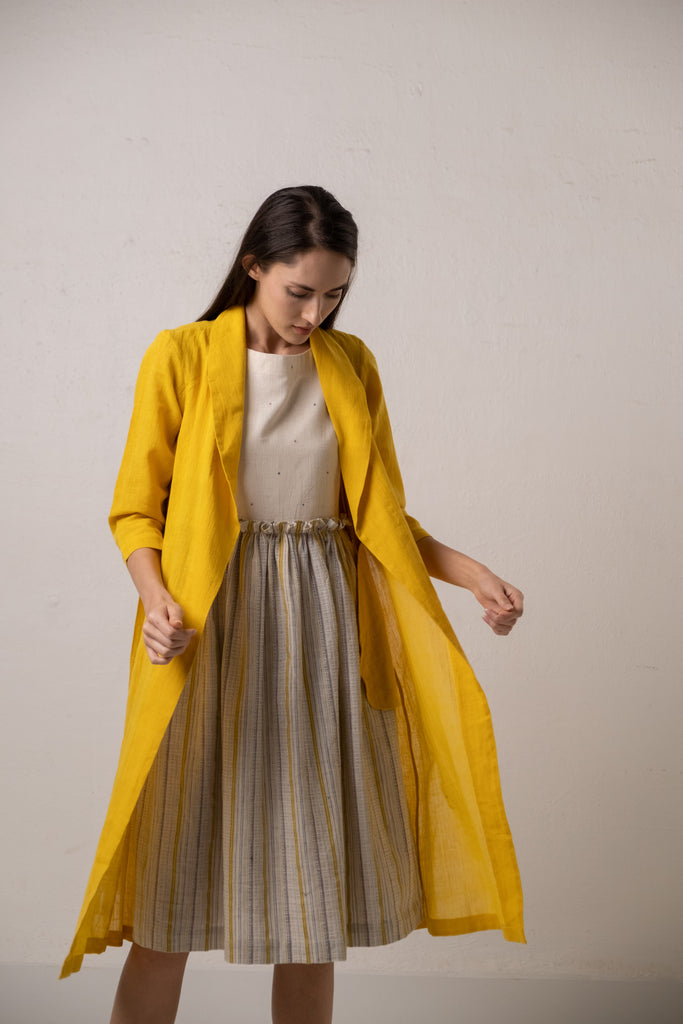 Dainty dress with Yellow shawl collar jacket (Set)