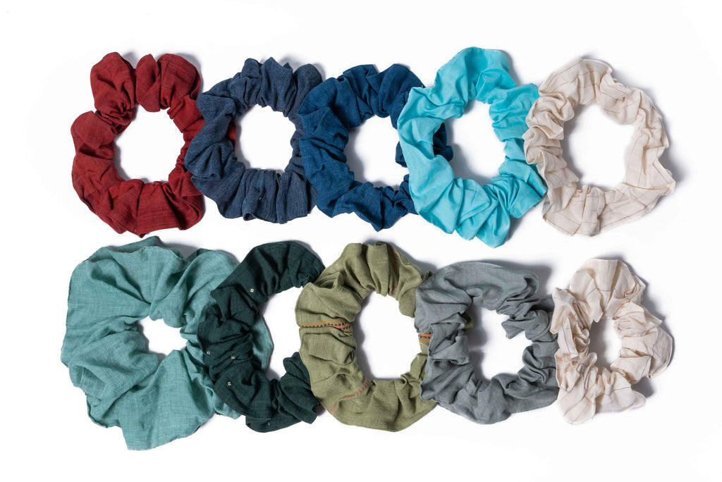 pack of organic cotton scrunchies. Sustainable hair accessories. list of sustainable brands best organic and sustainable clothing brands best sustainable clothing brands eco fashion clothing