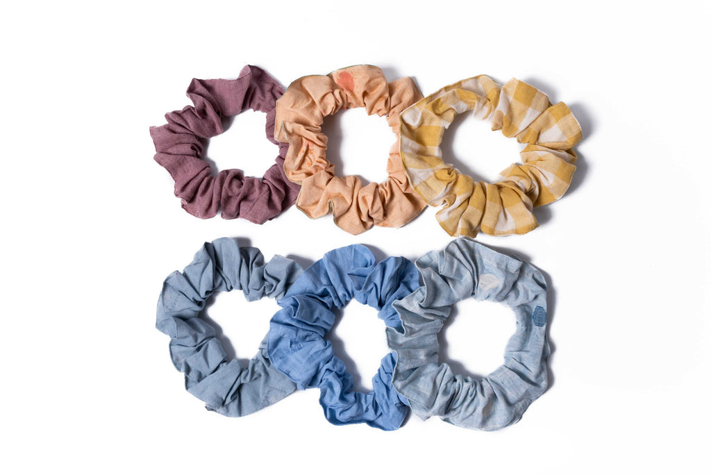 Pack of multicoloured hair scrunchies (Pack of six)