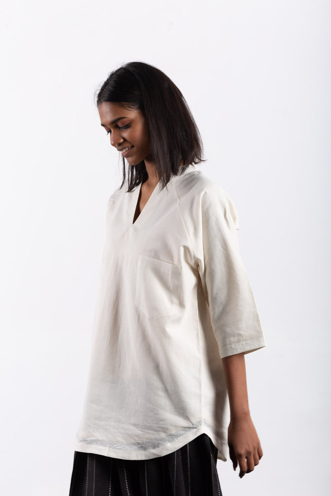 crow sustainable clothing white lounge top-2
