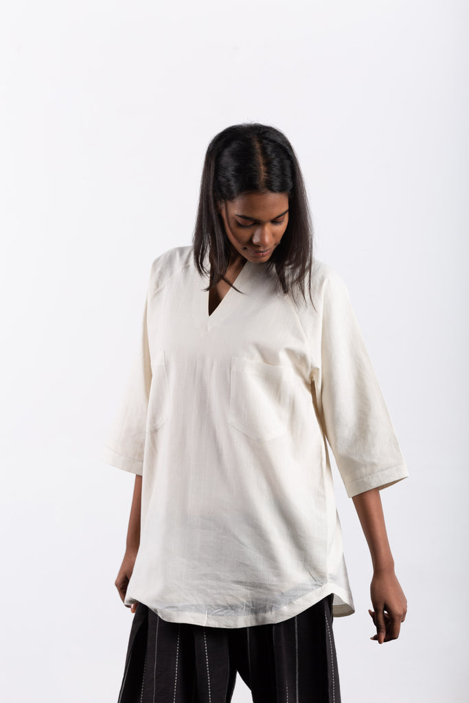 crow sustainable clothing white lounge top-4