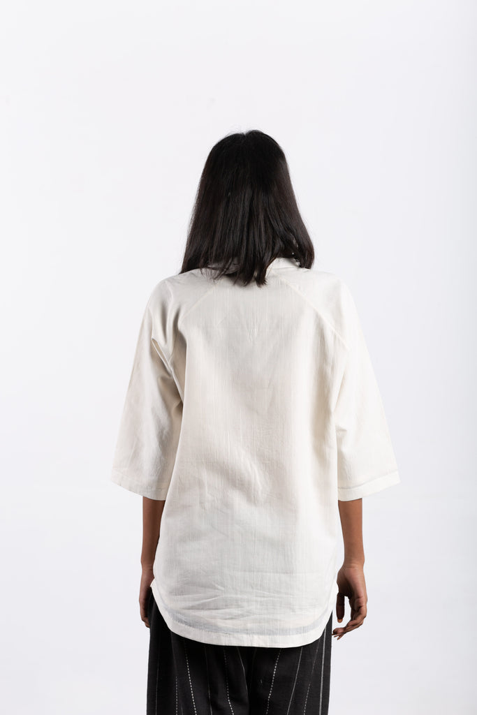crow sustainable clothing white lounge top-5
