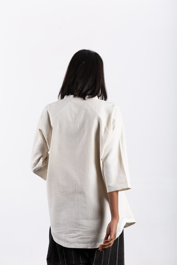 crow sustainable clothing white lounge top-6