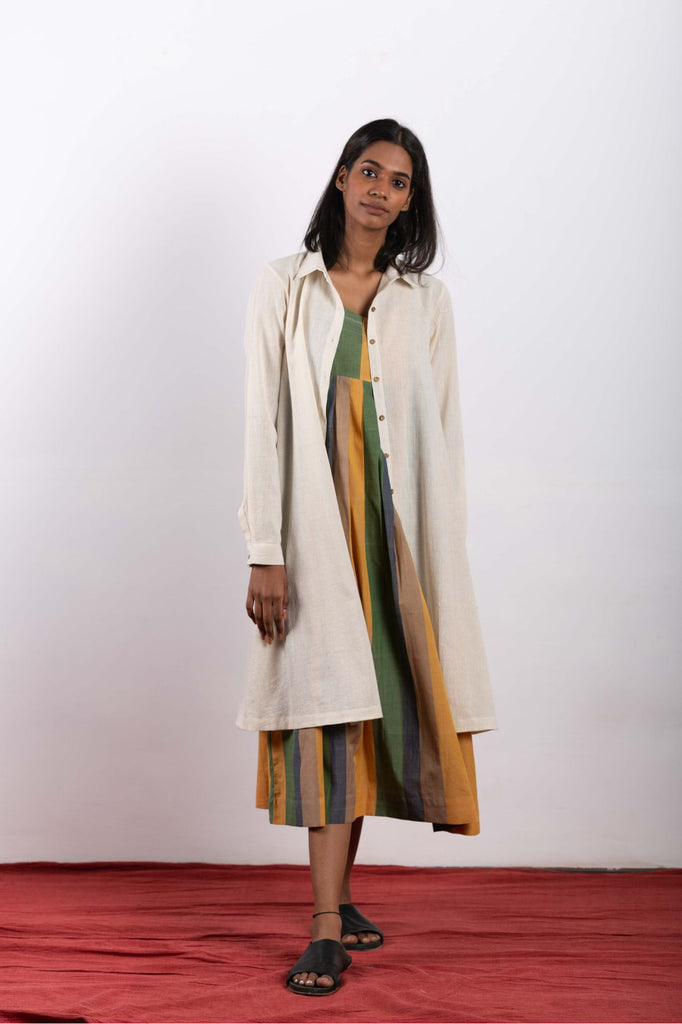 Women's ethical fashion for summers, jacket dress made using handwoven fabrics.