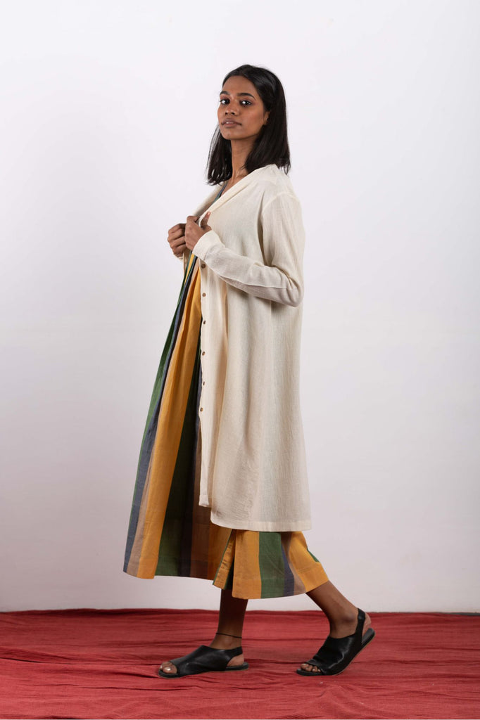 Fair trade eco friendly women dress made using handwoven cotton and conscious practices.