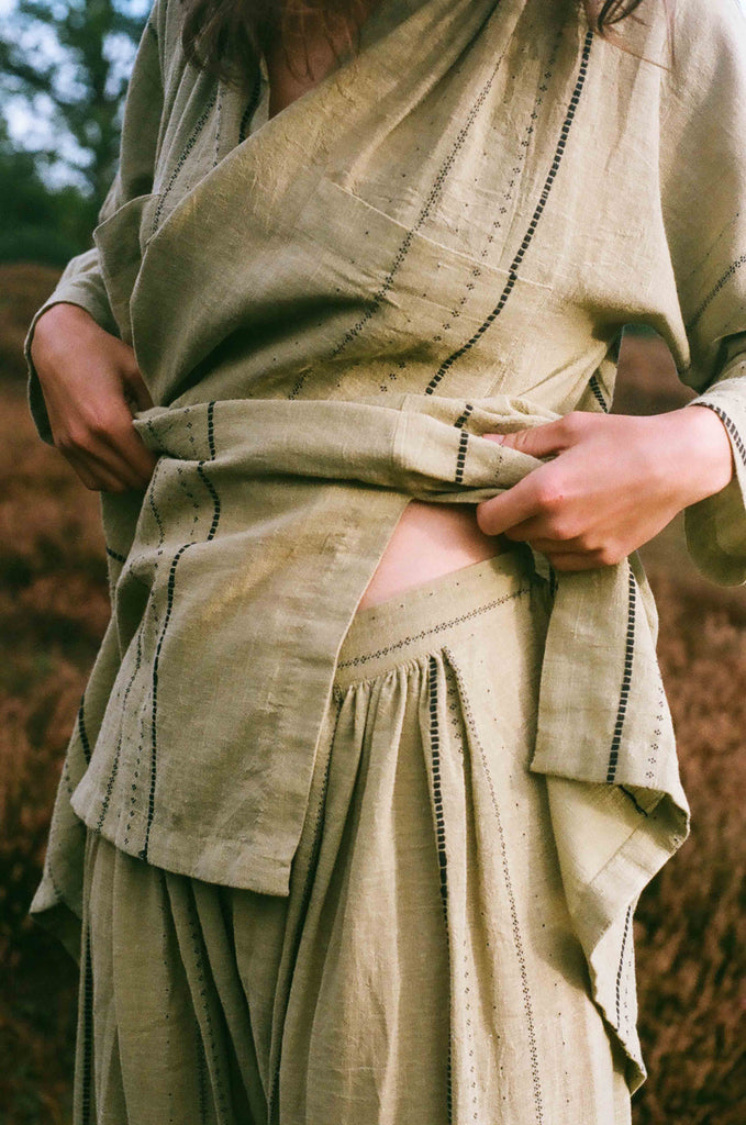 Indian style salwar pants in soothing moss green shade. Summer wear. It has an elastic waistband and ankle length.