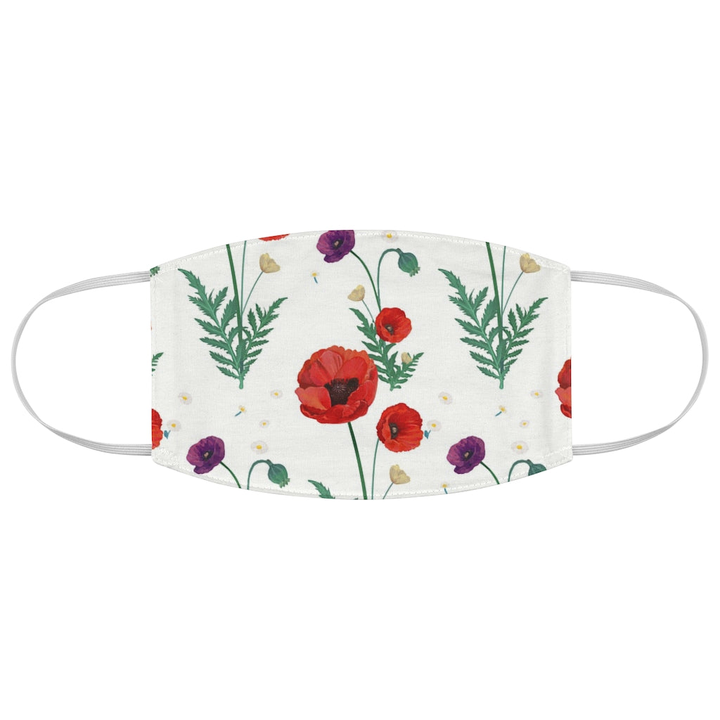 Pretty Poppy on White Fabric Face Mask