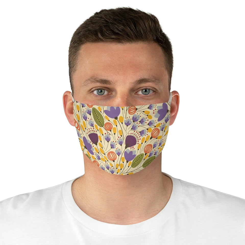 Golden Blooms Fabric Face Mask