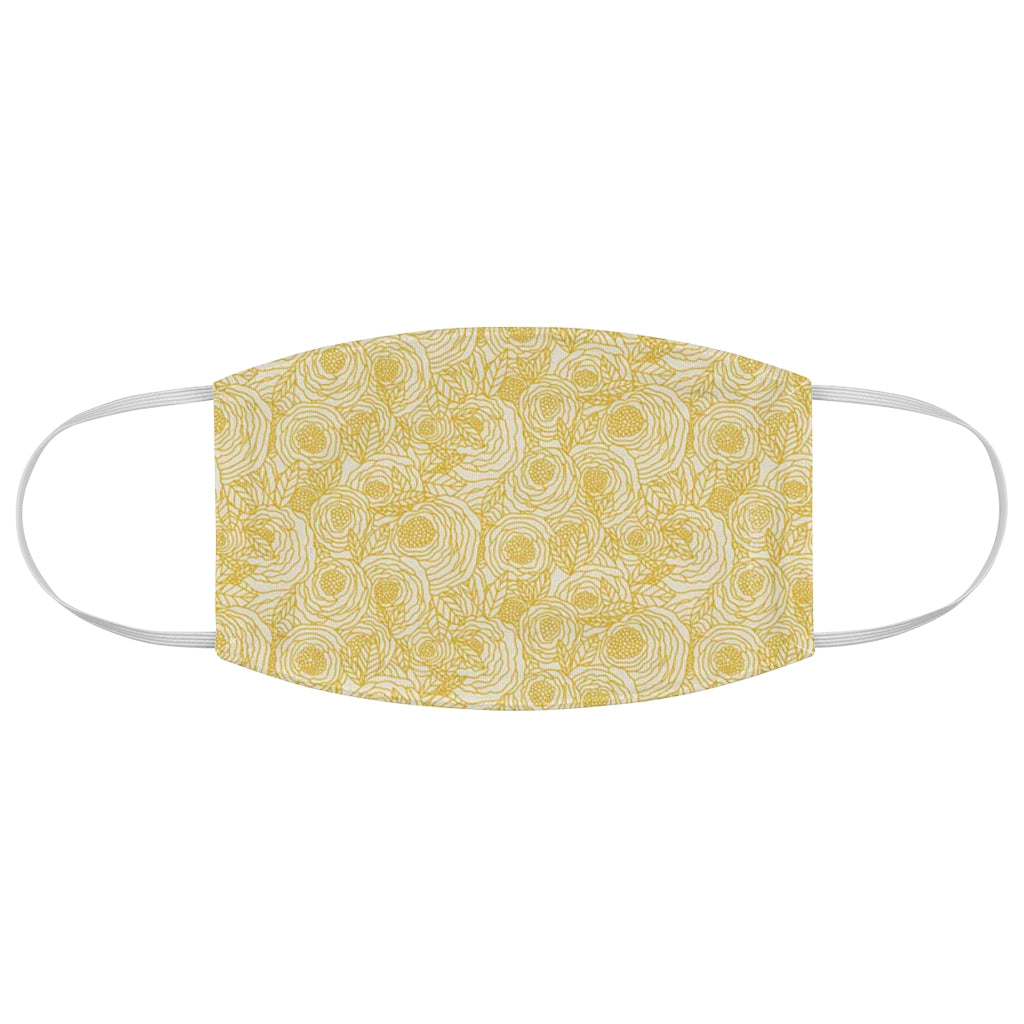 Designer Inspired Yellow Flowers Fabric Face Mask