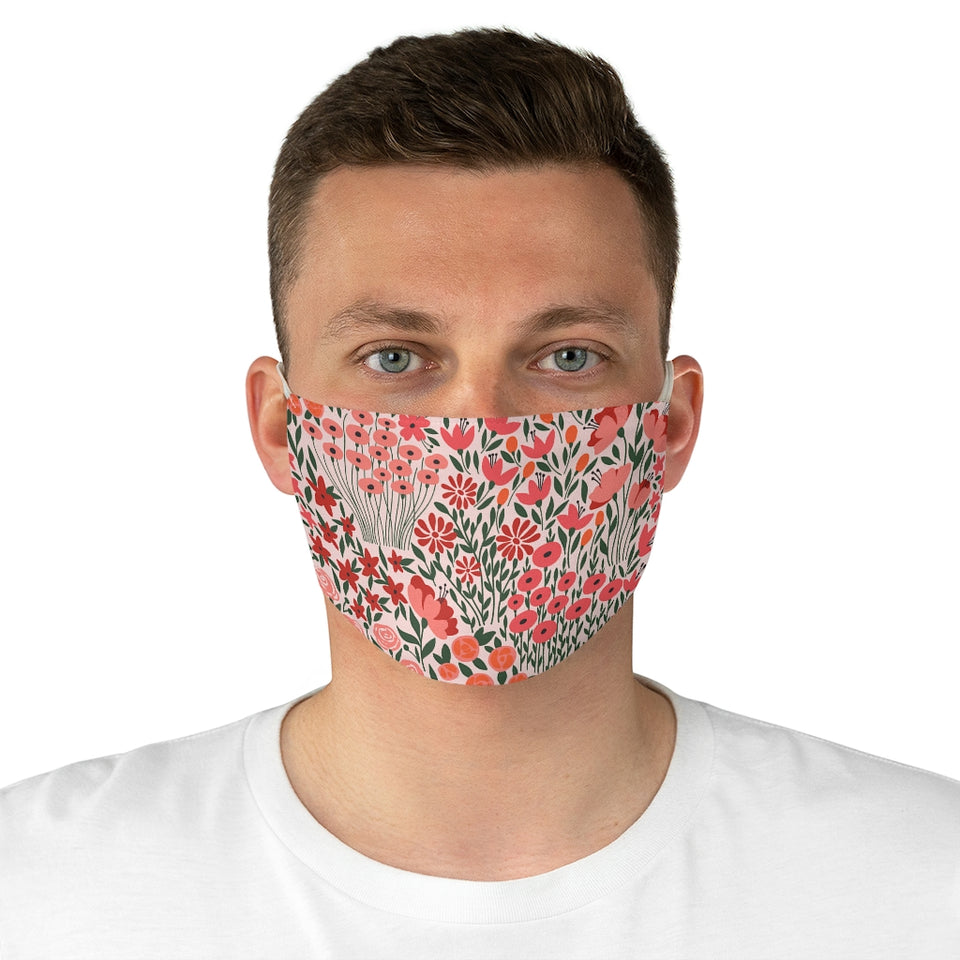 Blooming Lovely Coral Fabric Face Mask