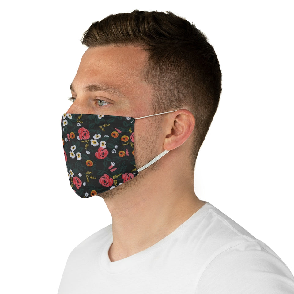 Rifle Paper Co. Inspired Black and Pink Floral Fabric Face Mask