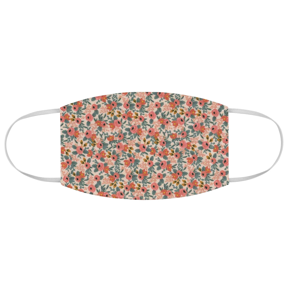 Rifle Paper Co. Inspired Pink Floral Pattern Fabric Face Mask
