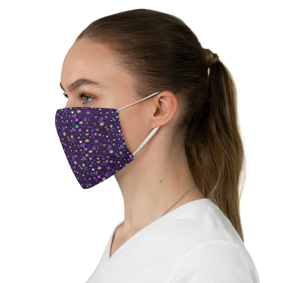 Purple Ditzy Floral Print Pattern Fabric Face Mask