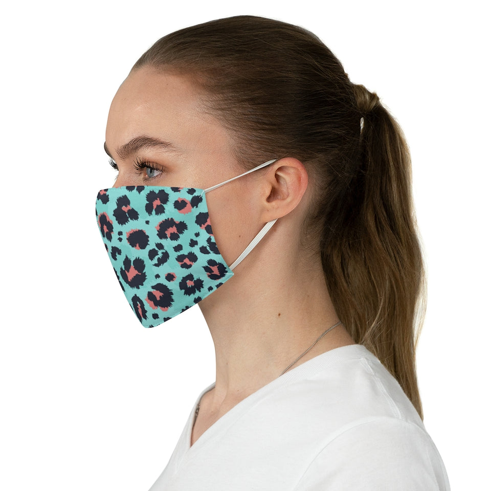 Trendy Aqua Leopard Print Fabric Face Mask