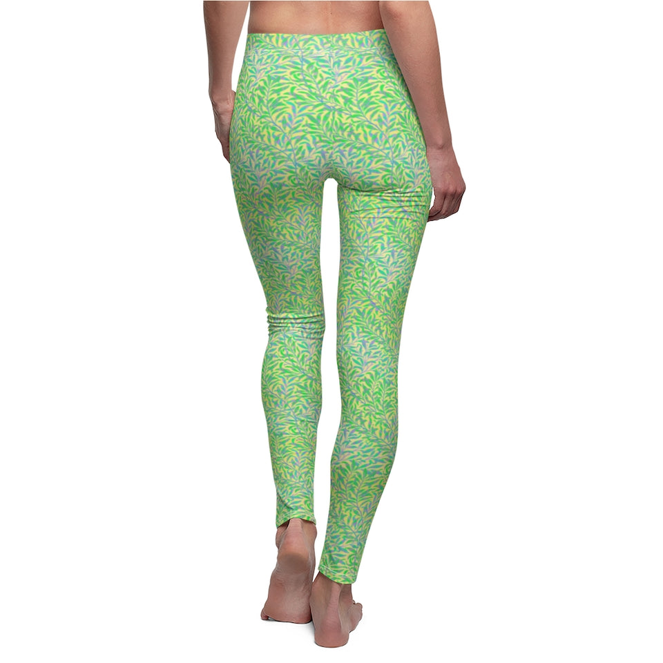 Leggings - William Morris Beautiful Leaf Pattern Reworked - Green