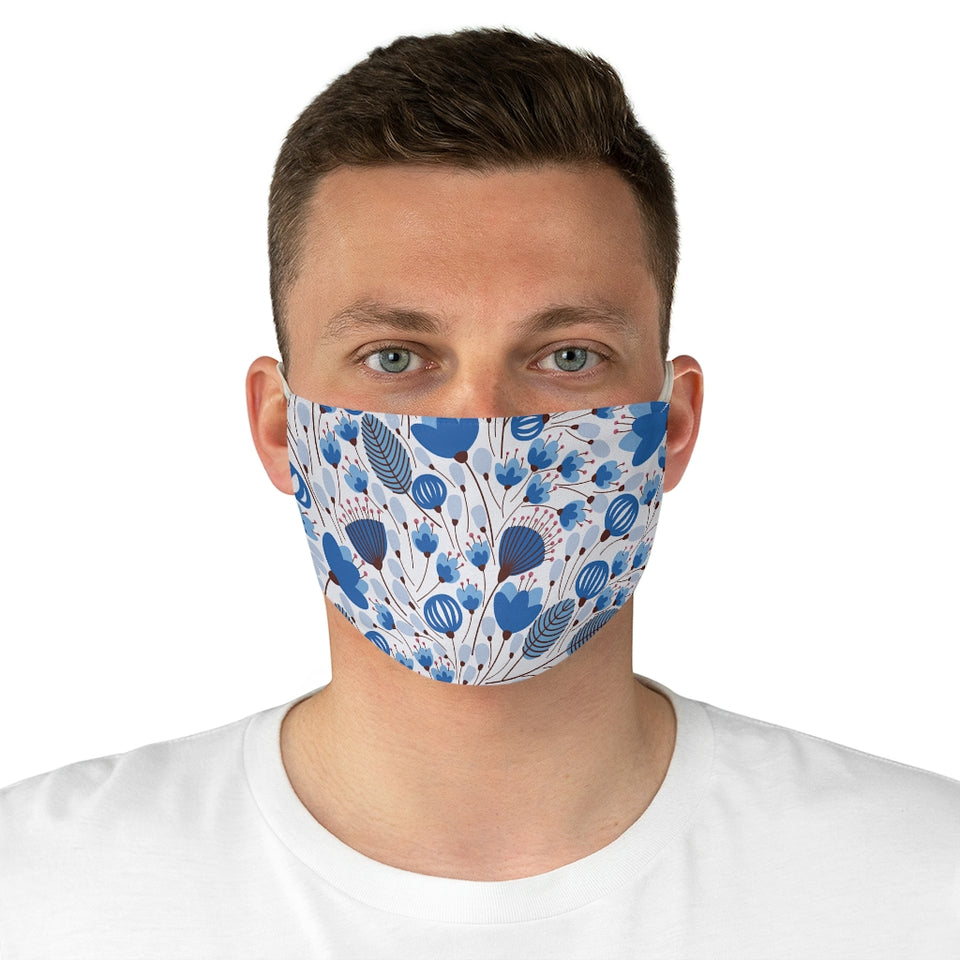 Pretty Indigo Blooms Fabric Face Mask