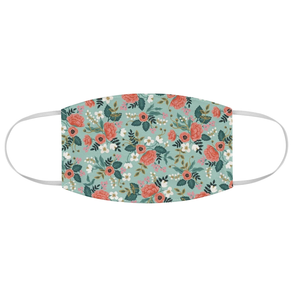 Rifle Paper Co. Inspired Blue Floral Pattern Fabric Face Mask