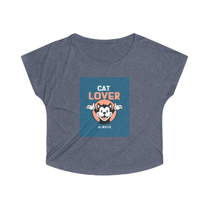 Cat Lover Vintage Women's Loose Trendy Fit T-shirt | Trendy Vintage Fit Tee | Loose Fit T-Shirt Flatters any Shape | Tri-Blend T-Shirt