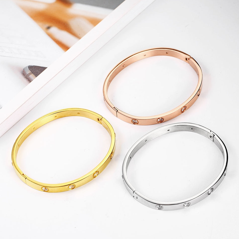 Rose Gold Ladies Crystal Stud Bangle