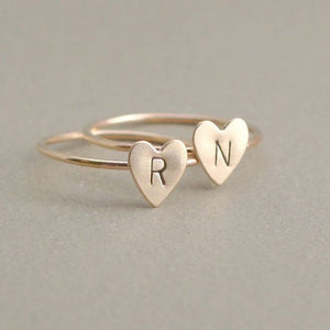 Hand Stamped Stacking A-Z 26 Letters Initial Tiny Heart Rings