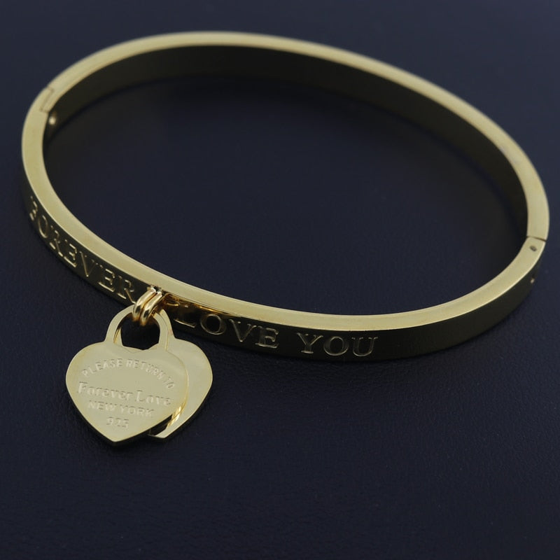 Hot Classic Bangle With Engraved Forever Love Heart