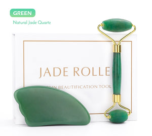 Crystal Face Lift Massager - Jade Roller and Natural Rose Quartz Roller