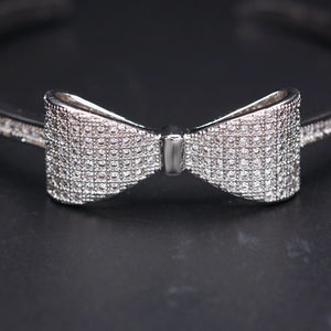 Big Bow Micro Paved Cubic Zirconia Cuff Bangle