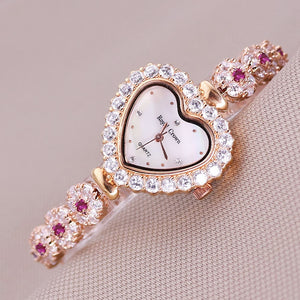 Luxury Crystal Mother of Pearl Heart Ladies Bracelet Watch