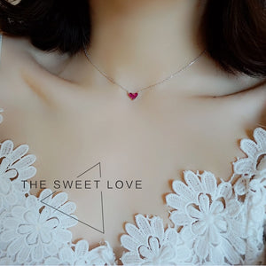 Cute Mini Heart Short Clavicle Chain 925 Sterling Silver - matching earrings/bracelet available