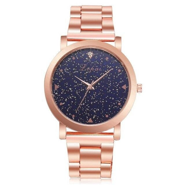 Starry Sky Rose Gold Stainless Steel Ladies Watch