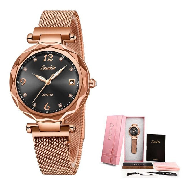 Magnetic Quartz Mesh Strap Ladies Wristwatch