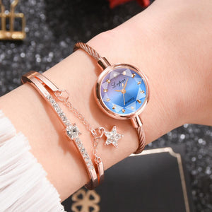 Beautiful Rose Gold Geometric Watch and Bangle Set