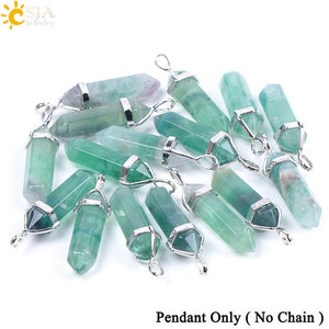 Fluorite Chakra Crystal Natural Gem Stone Quartz Hexagonal Pendant