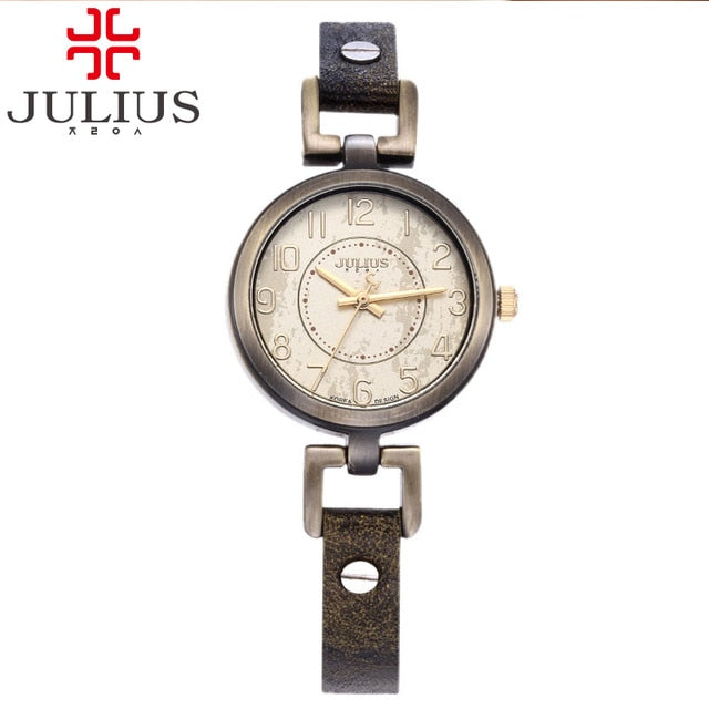 Lady Women's Watch Japan Quartz Hours Retro Fashion Antique Style Dress Bracelet Soft Leather Girl Birthday Gift Julius No Box - Lola + Bronte