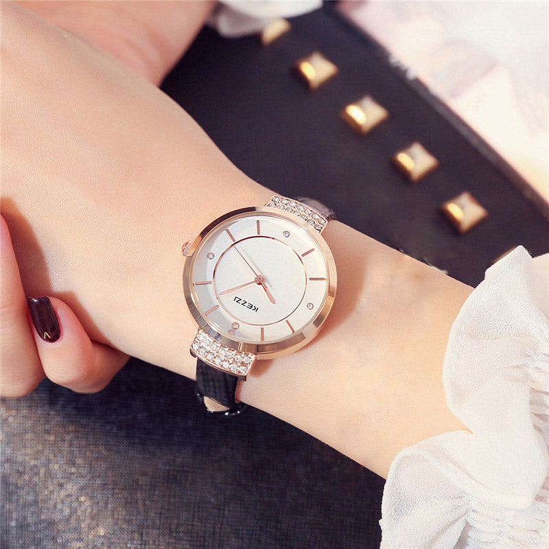 Luxury Crystal Quartz Watch with Fine Inlaid Rhinestone and Leather Strap - Lola + Bronte