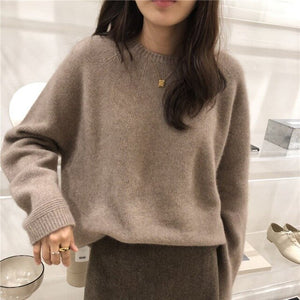 Autumn and Winter O-Neck Cashmere Loose Fit Sweater