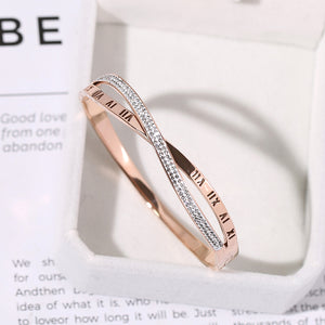 Crystal Roman Numerals Bangle - Lola + Bronte