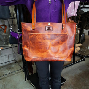 Rustic Pull-up Leather Tote