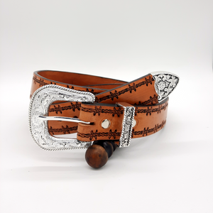 Leather Belt - Barb Wire tooling