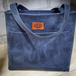 Deep Blue Pull-up Leather Tote